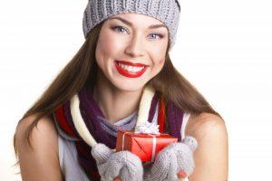 woman happy smiling present